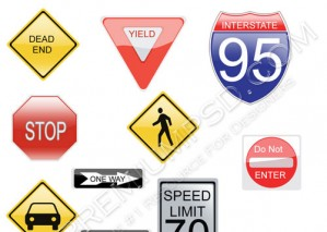 High Resolution Road Signs Design, PSD Download