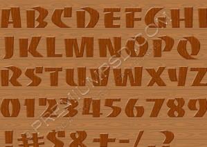 High Resolution Wood Alphabets Design, PSD Download