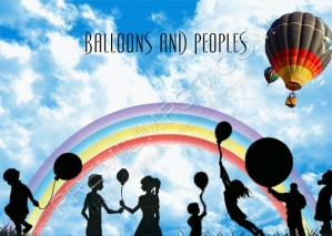 High Resolution Balloons and Peoples Wallpaper Design – PSD Download