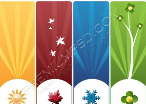 High Resolution 4 Assorted Banners Design, PSD Download
