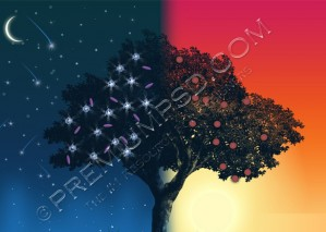 High Resolution Day and Night Vector Tree Wallpaper, PSD Download