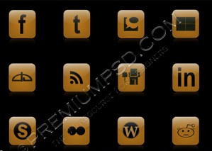 Golden Web Icons Design – High Resolution – PSD Download