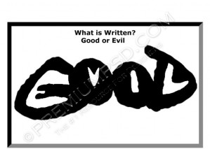 Good or Evil Text illusion Design – High Resolution – PSD Download