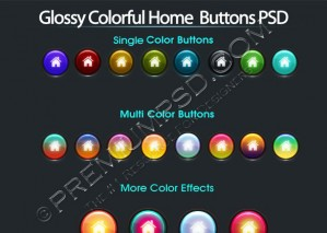 Glossy Colorful Home Buttons Design – High Resolution – PSD Download