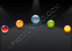 5 Aqua Glossy Orbs – PSD Download