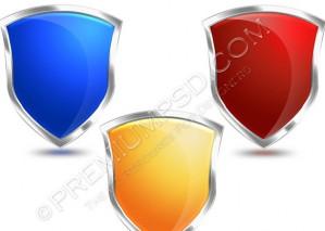 Three Glossy Shields Design – PSD Download