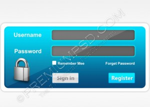 Blue Login Panel Design – PSD Download