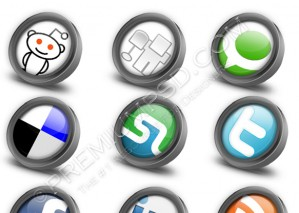 Twelve Glossy Social Bookmark Icons – PSD Download