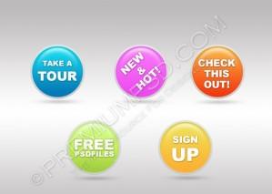Web 2.0 Buttons/Badges Design – PSD Download