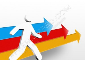 3D Color Arrow With Man Icon – PSD Download