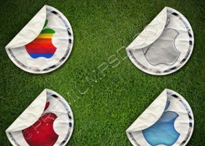 Apple Logo on Grass Design – PSD Download
