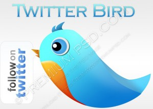 Blue and Orange Twitter Bird Wallpaper – PSD Download