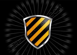 Glossy Black & Yellow Shield Wallpaper – PSD Download