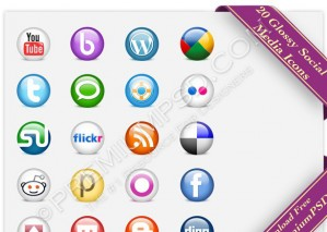 Glossy Social Media Icons Pack – PSD Download