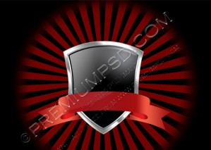 Red Ribbon on Silver Shield Wallpaper – PSD Download