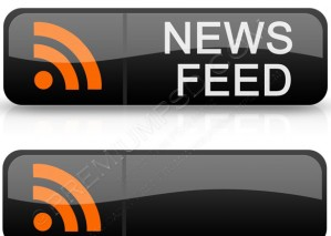 RSS News Feed Buttons in Black – PSD Download