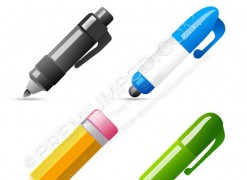 Set of Four Glossy Pen & Pencil Icons – PSD Download