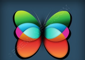 Colorful Vector Butterfly Icon – PSD Download