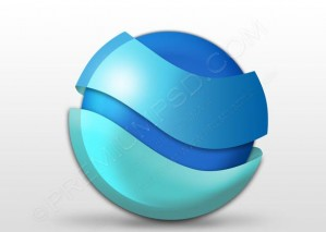 Blue Glossy Round Logo Design – PSD Download