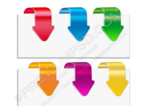 Glossy Colorful Down Arrows – PSD Download