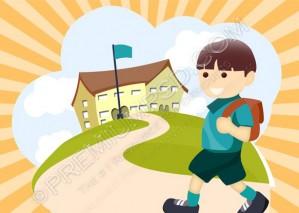 Kid Going School Wallpaper – PSD Download