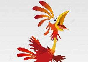 Red Rooster Cartoon Design – PSD Download