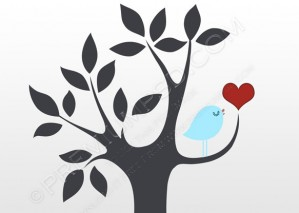 Bird and Tree Vector Wallpaper – PSD Download