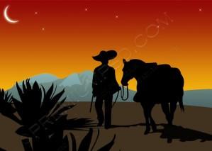 Vector Cowboy Wallpaper – PSD Download