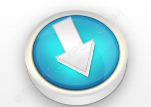 3D Blue Download Icon – PSD Download
