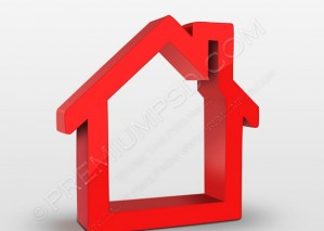 3D Render Red House Icon – PSD Download
