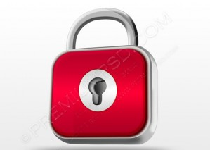 Red Lock Metallic Icon – PSD Download