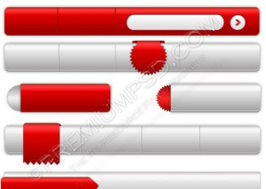 Red & White Website Navigation Set – PSD Download