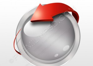 Round Icon With 3D red Arrow – PSD Download