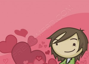 Valentine Heart Guy Wallpaper – PSD Download