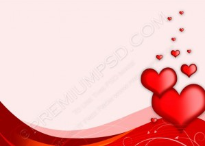 Abstract Valentines Day Background With Hearts – PSD Download