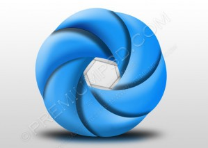 Metallic Blue Curve Shape – PSD Download