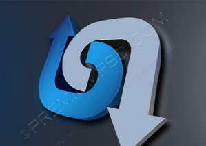 Opposite Directions Sign in Metal Blue – PSD Download