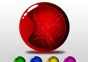 Set of Five Glossy Buttons – Vector illustration – PSD Download