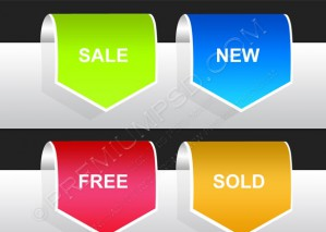 Set of Labels – Sale, New, Free, Sold – PSD Download