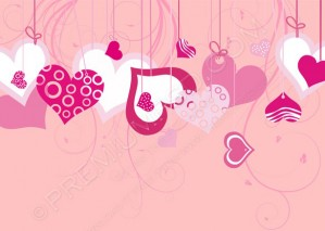 Valentine Background With Hearts – PSD Download