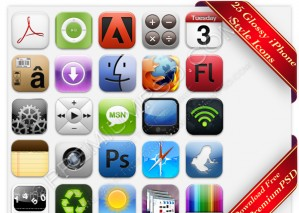 25 Glossy Iphone Style Icons – PSD Download