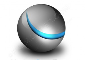 Glossy Metallic Sphere Logo – PSD Download