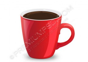 3D Red Coffee Mug – PSD Download