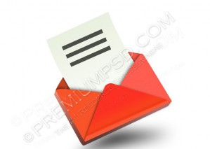 3D Red Email Icon – PSD Download