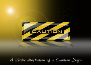 A Vector illustration Of A Caution Sign – PSD Download
