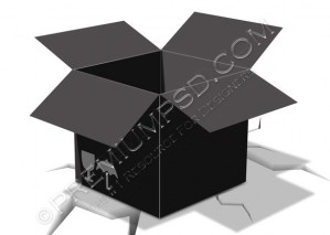 Black Empty 3D Box Vector on Cracked Ground – PSD Download