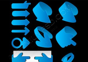 Blue 3d Vector Arrows Set – PSD Download