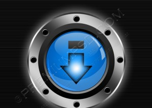 Blue Glossy Download Button – PSD Download