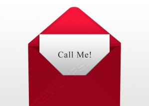 Call Me Card in Red Envelope – PSD Download
