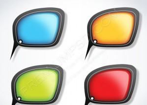 Colorful Glossy Speech Bubbles – PSD Download